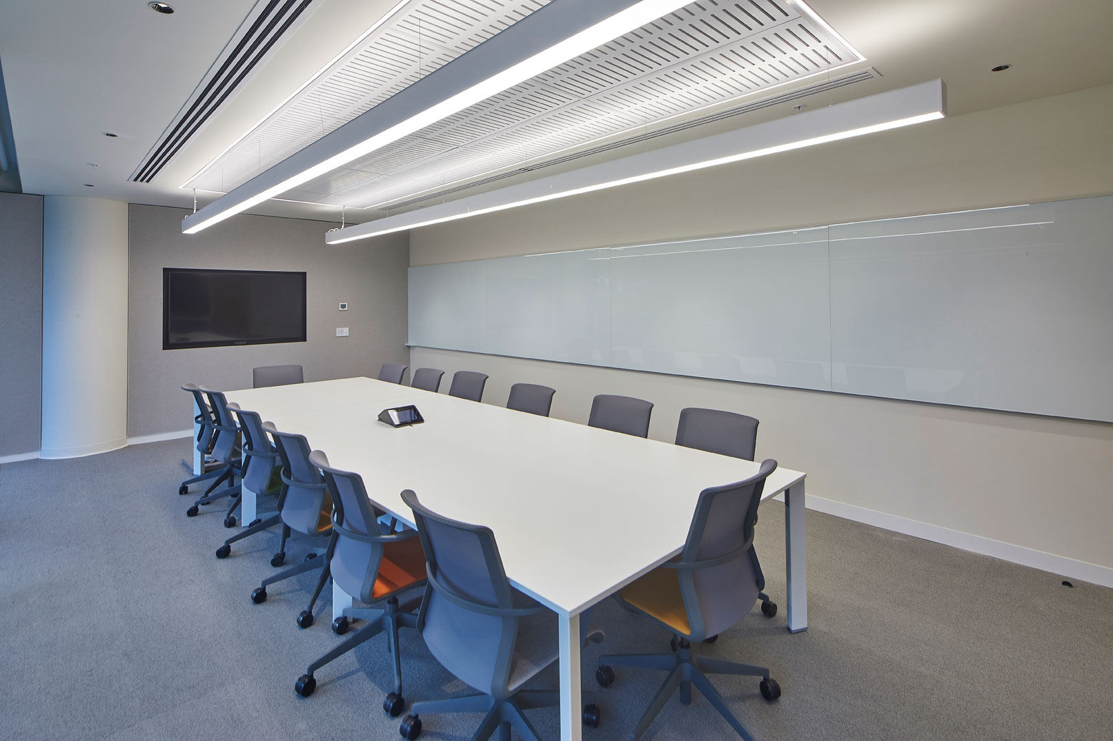 Office meeting room audio visual fitout with touch panel control and LED display screen
