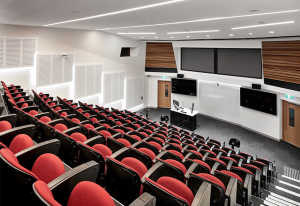 Lecture Conference Theatre with Audio Visual Technology including a projector, projections screen, LED Displays, Lecture and microphones