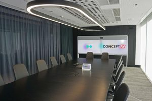 Office Boardroom meeting room with touch panel control, cisco webex video conferencing system and 70 inch webex board