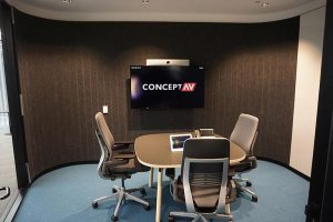 Small meeting room with video conferencing