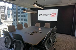 Small meeting room with Cisco screen and touch panel control