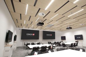 UTS central high tech classroom teaching space with projection screens, projectors and LED display screens