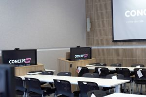 UTS Central high tech Audio visual fitout with LED display screens, Projection screens and speakers