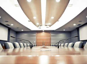 Boardroom audio visual fitout with gooseneck microphones