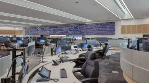 Government Office with LED video wall, display monitors and microphones