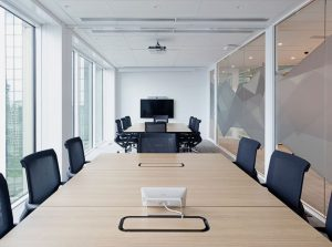Office meeting rooms with audio visual fitout including touch panel control, video conferencing camera, microphones, LED display, projector and projection screen