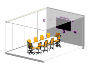Isometric drawing of a boardroom audio visual technology with video conferencing including a camera, touch panel control, LED Display, Microphone and Speakers