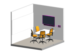 Isometric View Drawing of a Office Huddle Space Audio Visual fitout including LED display, sound bar and touch panel control