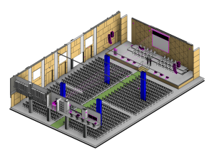 Isometric view drawing of a conference lecture theatre audio visual fitout including projector, projector screens, av control room, speakers and lecturn