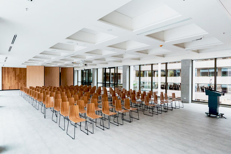 Conference theatre with projector and lecture audio visual