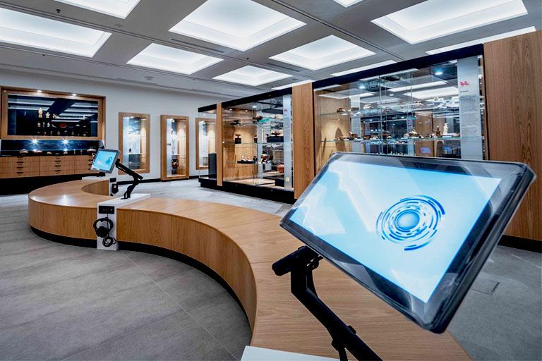Touch panels and headphones AV in Museum