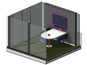 Isometric View drawing of Meeting Audio visual technology including touch panel control, sound bar and LED display