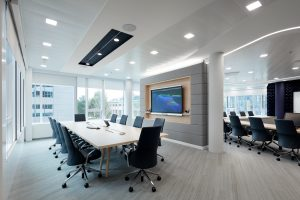Meeting room with high tech audio visual equipment including a LED display, video conferencing, cameras, touch panel control, microphones and speakers